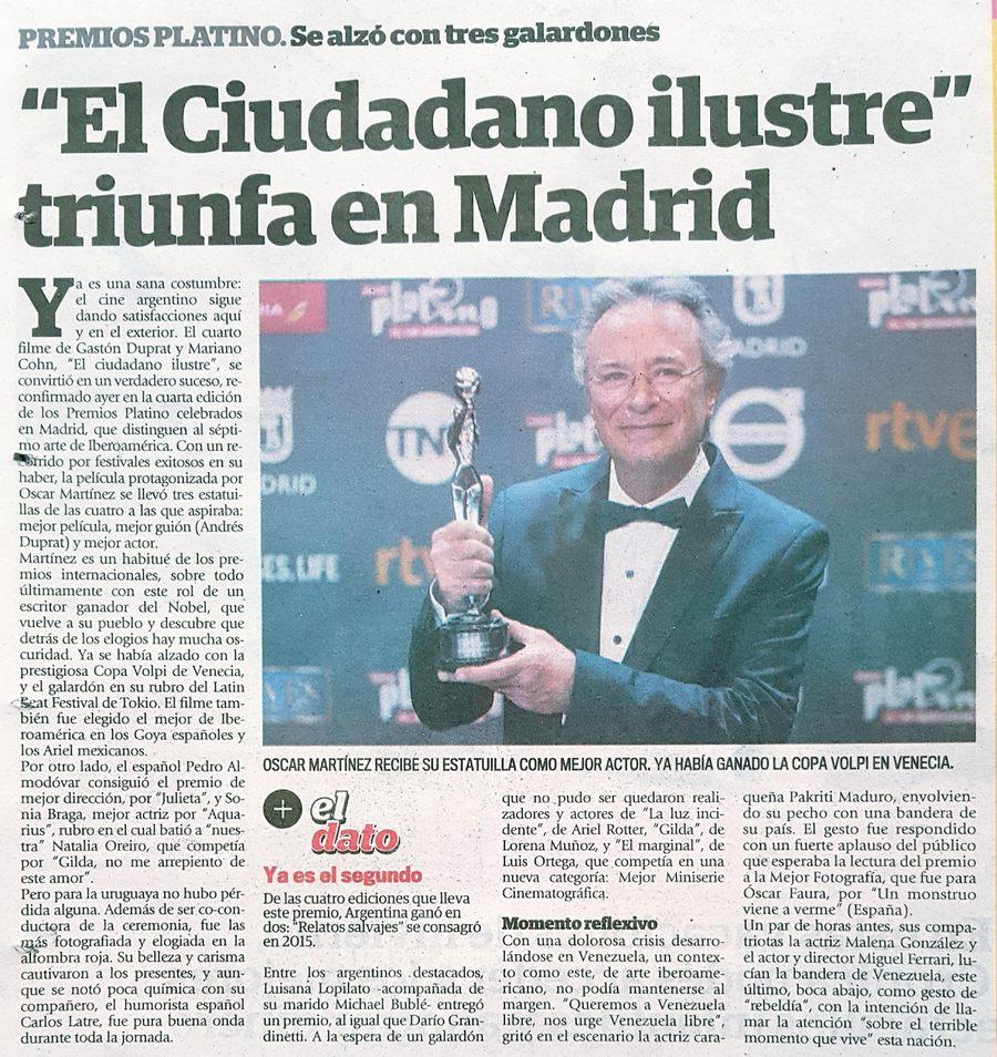 Premios Platino: El ciudadano ilustre