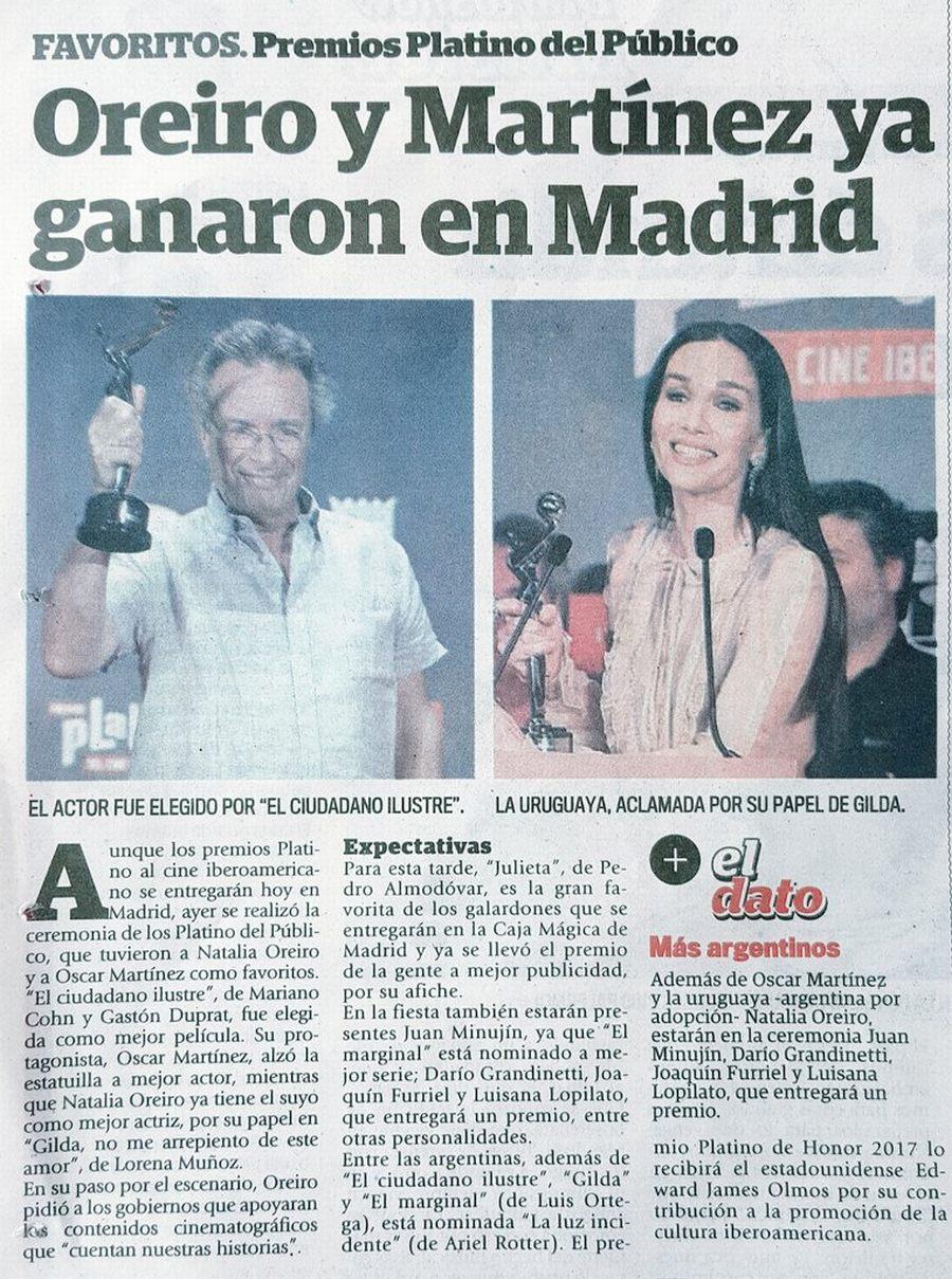Premios Platino / Oreiro y Martínez